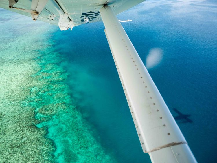 Aerial View over Tropical Island Ocean Sea Reef from Inside Seap